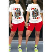 lovely Leisure O Neck Print Red Two-piece Shorts Set