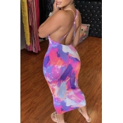 lovely Stylish Backless Tie-dye Purple Mid Calf Dr