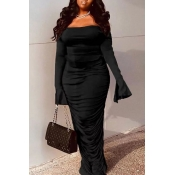 lovely Stylish Fold Design Black Maxi Dress