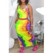 Lovely Trendy Tie-dye Yellow Two-piece Skirt Set