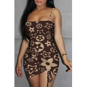 Lovely Sexy Print Brown Mini Dress