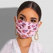 Lovely Print Pink Face Mask