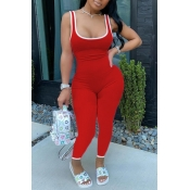 lovely Sportswear Patchwork Red One-piece Jumpsuit