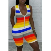 lovely Leisure Striped Yellow One-piece Romper