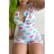 lovely Stylish Lip Print Multicolor One-piece Romper