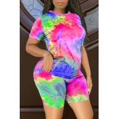 lovely Casual O Neck Tie-dye Red Plus Size Two-piece Shorts Set