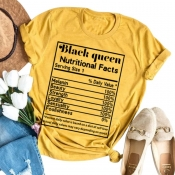 lovely Leisure O Neck Letter Print Yellow Plus Size T-shirt