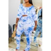 Lovely Casual Tie-dye Fold Design Blue Plus Size Two-piece Pants Set