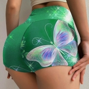 lovely Casual Butterfly Print Green Shorts