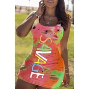 lovely Stylish U Neck Tie-dye Multicolor Mini Dress