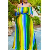 Lovely Bohemian Striped Yellow Maxi Plus Size Dress