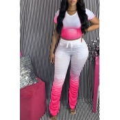 Lovely Casual Gradual Change Rose Red Two-piece Pants Set