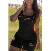 lovely Casual Hollow-out Black One-piece Romper