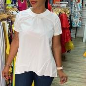 lovely Trendy Turndown Collar Backless White Blous