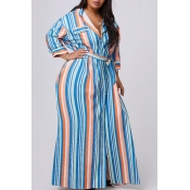 lovely Casual Striped Print Yellow Maxi Plus Size
