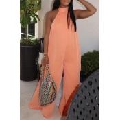 lovely Stylish Backless Orange Plus Size One-piece
