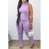 lovely Casual Sleeveless Skinny Purple Two-piece P