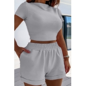 Lovely Casual Skinny Grey Two-piece Shorts Set