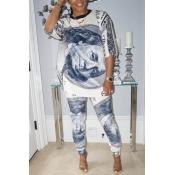 Lovely Trendy O Neck Print Grey Two-piece Pants Se