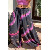 lovely Bohemian Tie-dye Black Pants