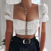 lovely Stylish Puffed Sleeves White Blouse