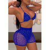 lovely Hot Drilling Decorative Blue Two-piece Swimsuit