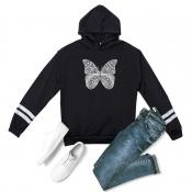 lovely Trendy Butterfly Print Black Plus Size Hood