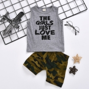 lovely Leisure O Neck Letter Print Grey Boy Two-piece Shorts Set