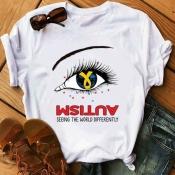 lovely Street O Neck Eye Print White Plus Size T-s