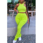 lovely Stylish Fold Design Green Plus Size Two-piece Pants Set