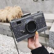 lovely Chic Camera Silver Crossbody Bag