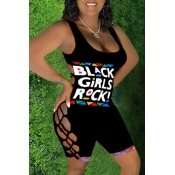 Lovely Sexy Letter Bandage Design Black One-piece