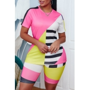 lovely Casual Color-lump Patchwork Pink Two-piece