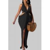lovely Sexy Hollow-out Asymmetrical Black Maxi Plu