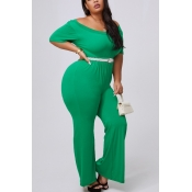 lovely Casual Basic Green Plus Size One-piece Jump