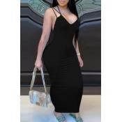 lovely Sexy Backless Black Ankle Length Dress