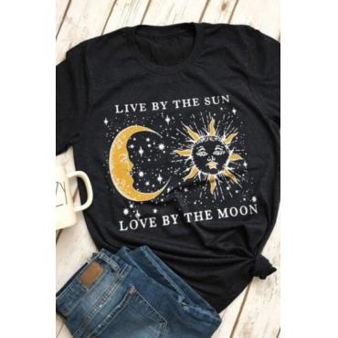 lovely Casual O Neck Moon Print Black T-shirt