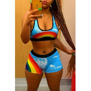 lovely Casual U Neck Rainbow Print Multicolor Two-piece Shorts Set