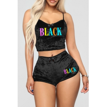 lovely Casual Spaghetti Strap Letter Print Black Two-piece Shorts Set