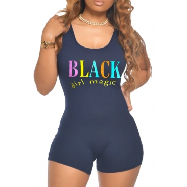 lovely Casual O Neck Letter Print Black One-piece Romper