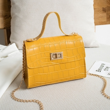 lovely Sweet Zipper Design Yellow Messenger Bag