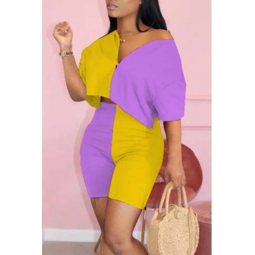 lovely Street Patchwork Yellow Two-piece Shorts Set