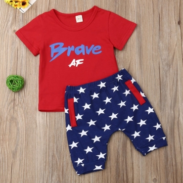 lovely Casual Letter Print Red Boys Two-piece Shorts Set