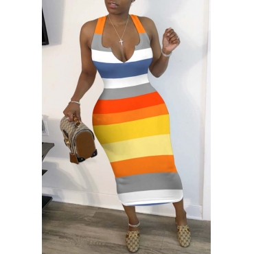 Lovely Leisure Rainbow Striped Yellow Mid Calf Dress