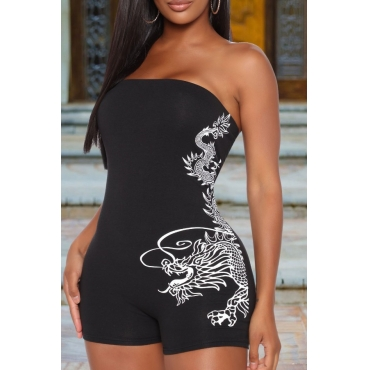 Lovely Street Backless Print Black One-piece Romper