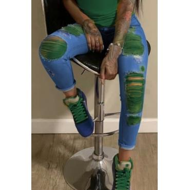 lovely Stylish Broken Holes Blackish GreenJeans
