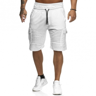 Lovely Casual Pocket Patched White Shorts