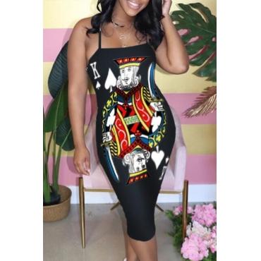 lovely Trendy Print Black Mid Calf Dress