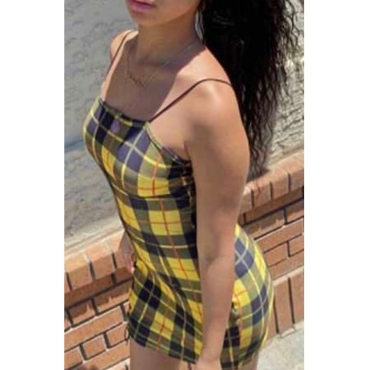 Lovely Bohemian Grid Print Yellow One-piece Romper