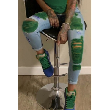 lovely Stylish Broken Holes GreenJeans